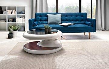 SalesFever® Couchtisch Enric, aus weißem Fiberglas, 90 x 90 cm, runder Wohnzimmertisch, 8 mm Tischplatte aus Glas, Tisch mit Pflegeleichter Oberfläche - 5