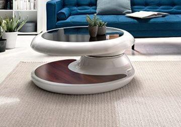 SalesFever® Couchtisch Enric, aus weißem Fiberglas, 90 x 90 cm, runder Wohnzimmertisch, 8 mm Tischplatte aus Glas, Tisch mit Pflegeleichter Oberfläche - 6