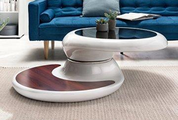 SalesFever® Couchtisch Enric, aus weißem Fiberglas, 90 x 90 cm, runder Wohnzimmertisch, 8 mm Tischplatte aus Glas, Tisch mit Pflegeleichter Oberfläche - 7