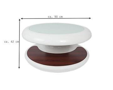 SalesFever® Couchtisch Enric, aus weißem Fiberglas, 90 x 90 cm, runder Wohnzimmertisch, 8 mm Tischplatte aus Glas, Tisch mit Pflegeleichter Oberfläche - 8
