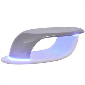 vidaXL LED Hochglanz Couchtisch Beistelltisch Kaffeetisch Fiberglas Weiß-Grau - 1