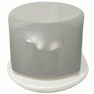 vidaXL LED Hochglanz Couchtisch Beistelltisch Kaffeetisch Fiberglas Weiß-Grau - 5