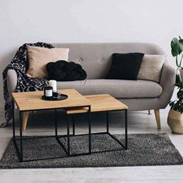 2er-Set Couchtisch (MSH) Eiche Metall Beistelltisch Industiedesign loft Vintage Sofatisch massiv Holz (Eiche Natur) - 2