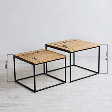 2er-Set Couchtisch (MSH) Eiche Metall Beistelltisch Industiedesign loft Vintage Sofatisch massiv Holz (Eiche Natur) - 3