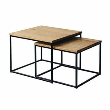 2er-Set Couchtisch (MSH) Eiche Metall Beistelltisch Industiedesign loft Vintage Sofatisch massiv Holz (Eiche Natur) - 1