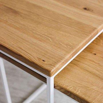 2er-Set Couchtisch (MSH) Eiche Metall Beistelltisch Industiedesign loft Vintage Sofatisch massiv Holz (Eiche Natur) - 5