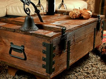 Alte Truhe Kiste Tisch shabby chic Holz Beistelltisch Holztruhe Couchtisch Länge: 81 cm Höhe: 39 cm Tiefe: 50 cm - 4