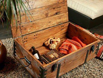Alte Truhe Kiste Tisch shabby chic Holz Beistelltisch Holztruhe Couchtisch Länge: 81 cm Höhe: 39 cm Tiefe: 50 cm - 8