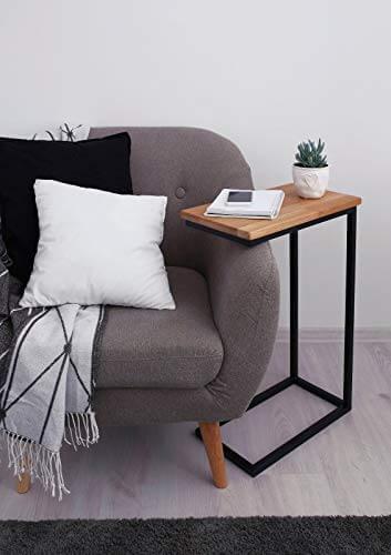 BestLoft® Beistelltisch (CSH) Laptoptisch Sofatisch Betttisch Couchtisch (Gestell schwarz+Platte hell) - 2