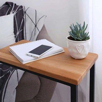 BestLoft® Beistelltisch (CSH) Laptoptisch Sofatisch Betttisch Couchtisch (Gestell schwarz+Platte hell) - 6