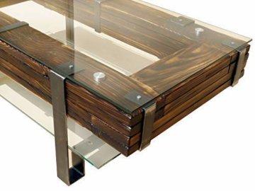 CHYRKA® Couchtisch Wohnzimmertisch LEMBERG Loft Vintage Bar IndustrieDesign Handmade Holz Glas Metall (120x60 cm) - 2