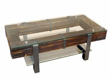 CHYRKA® Couchtisch Wohnzimmertisch LEMBERG Loft Vintage Bar IndustrieDesign Handmade Holz Glas Metall (120x60 cm) - 3