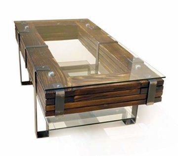 CHYRKA® Couchtisch Wohnzimmertisch LEMBERG Loft Vintage Bar IndustrieDesign Handmade Holz Glas Metall (120x60 cm) - 1