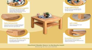 Couchtisch Wooden Nature 123 Kernbuche massiv - 80 x 80 x 45 cm (B x T x H) - 3