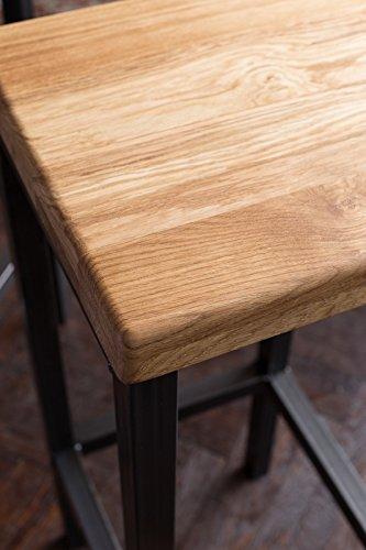 EIN Original-BestLoft® Barhocker Handmade Industriedesign Loft Stahl Holz Eiche massiv 78cm (Hell, 78cm) - 2
