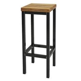 EIN Original-BestLoft® Barhocker Handmade Industriedesign Loft Stahl Holz Eiche massiv 78cm (Hell, 78cm) - 1