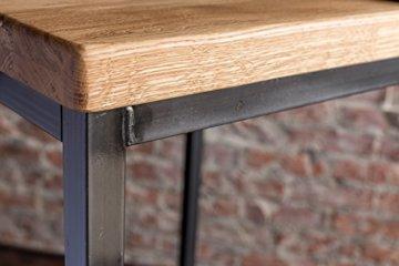 EIN Original-BestLoft® Barhocker Handmade Industriedesign Loft Stahl Holz Eiche massiv 78cm (Hell, 78cm) - 4