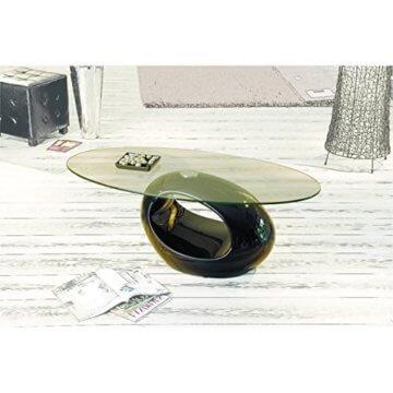 H24living Couchtisch Hochglanz Sofatisch Glastisch Tisch Beistelltisch Wohnzimmertisch Wohnzimmer Moderne Möbel Designer Tisch Sicherheitsglas Fieberglas 110 x 60 x 40 cm - 2