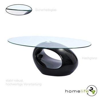 H24living Couchtisch Hochglanz Sofatisch Glastisch Tisch Beistelltisch Wohnzimmertisch Wohnzimmer Moderne Möbel Designer Tisch Sicherheitsglas Fieberglas 110 x 60 x 40 cm - 3