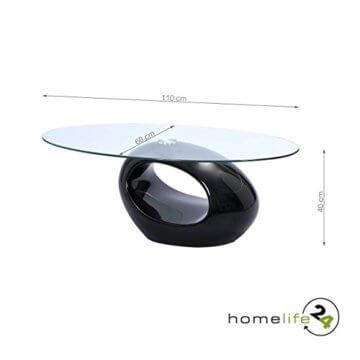 H24living Couchtisch Hochglanz Sofatisch Glastisch Tisch Beistelltisch Wohnzimmertisch Wohnzimmer Moderne Möbel Designer Tisch Sicherheitsglas Fieberglas 110 x 60 x 40 cm - 4