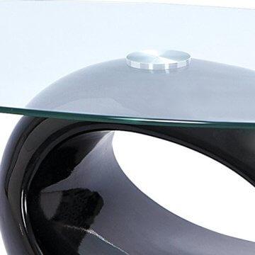 H24living Couchtisch Hochglanz Sofatisch Glastisch Tisch Beistelltisch Wohnzimmertisch Wohnzimmer Moderne Möbel Designer Tisch Sicherheitsglas Fieberglas 110 x 60 x 40 cm - 5