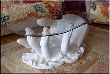 InterDecorShop Neuheit Couchtisch Hand White Wohnzimmertisch Tisch Glastisch Luxusmöbel - 3