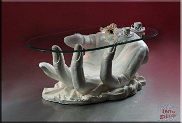 InterDecorShop Neuheit Couchtisch Hand White Wohnzimmertisch Tisch Glastisch Luxusmöbel - 1