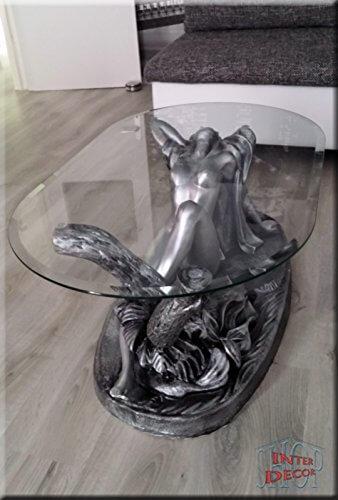 InterDecorShop Neuheit Designer Couchtisch Sexy Lady Silber Wohnzimmertisch Tisch Glastisch Luxusmöbel - 8