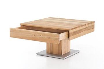Woodlive Massivholz Couchtisch quadratisch aus Kernbuche, geölter Wohnzimmer-Tisch, Beistelltisch inkl. Schublade, Tisch 75 x 75 cm - 1