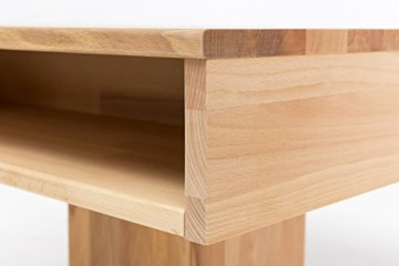 Woodlive Massivholz Couchtisch quadratisch aus Kernbuche, geölter Wohnzimmer-Tisch, Beistelltisch inkl. Schublade, Tisch 75 x 75 cm - 6
