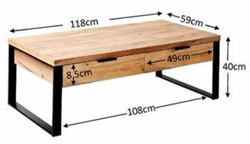 Amazon Marke -Movian Ems - Couchtisch mit Schubladen, 118x59x40cm, Kerneiche-Effekt - 7