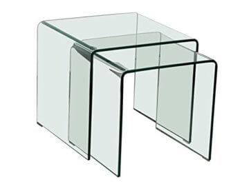 Beistelltische Glastisch 2er Set quadratisch -