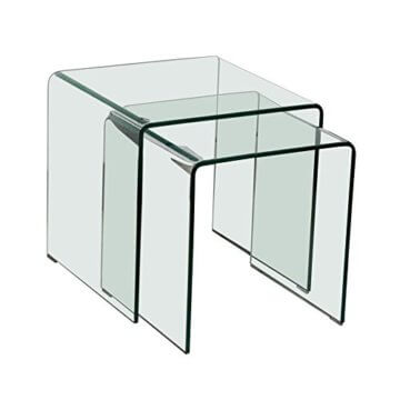 BHP Glastisch 2tlg ausziehbar Wohn ESS Zimmer Küche Glas Tisch TV Beistelltisch B154076 - 1