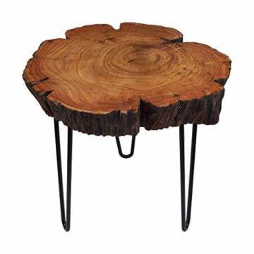 Cander Berlin MNT 0640 Beistelltisch Abstelltisch Akazie (40-45) x 45 cm Baumscheibe Metall Sofatisch Kaffeetisch Couchtisch Tisch Holz Massivholz rund Natur - 2