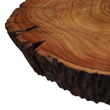 Cander Berlin MNT 0640 Beistelltisch Abstelltisch Akazie (40-45) x 45 cm Baumscheibe Metall Sofatisch Kaffeetisch Couchtisch Tisch Holz Massivholz rund Natur - 4