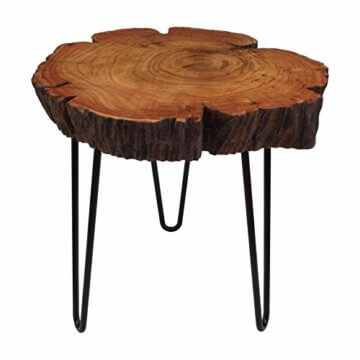 Cander Berlin MNT 0640 Beistelltisch Abstelltisch Akazie (40-45) x 45 cm Baumscheibe Metall Sofatisch Kaffeetisch Couchtisch Tisch Holz Massivholz rund Natur - 1