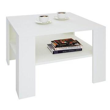 CARO-Möbel Couchtisch Wohnzimmertisch Felice in weiß mit Stauraum, 68 x 68 cm - 2