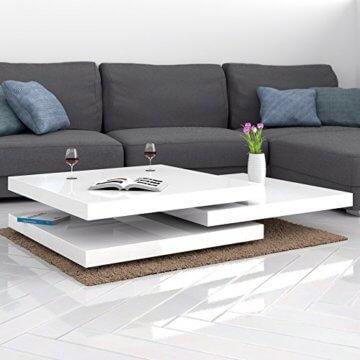 Deuba Couchtisch Hochglanz Weiß 360° Drehbar Cube Design Modern 76x76cm Wohnzimmertisch Lounge Tisch Sofatisch - 2