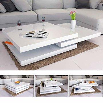 Deuba Couchtisch Hochglanz Weiß 360° Drehbar Cube Design Modern 76x76cm Wohnzimmertisch Lounge Tisch Sofatisch - 1