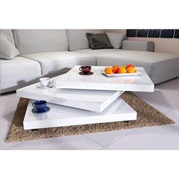Deuba Couchtisch Hochglanz Weiß 360° Drehbar Cube Design Modern 76x76cm Wohnzimmertisch Lounge Tisch Sofatisch - 5