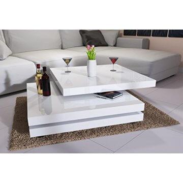 Deuba Couchtisch Hochglanz Weiß 360° Drehbar Cube Design Modern 76x76cm Wohnzimmertisch Lounge Tisch Sofatisch - 6