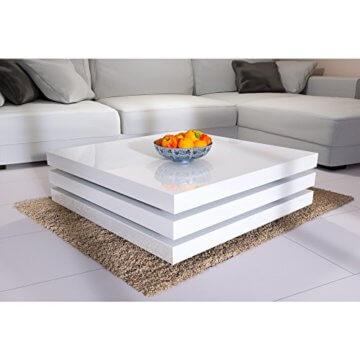Deuba Couchtisch Hochglanz Weiß 360° Drehbar Cube Design Modern 76x76cm Wohnzimmertisch Lounge Tisch Sofatisch - 7