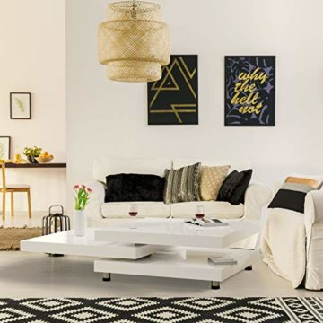 Deuba Couchtisch Hochglanz Weiß 360° Drehbar Cube Design Modern 76x76cm Wohnzimmertisch Lounge Tisch Sofatisch - 8
