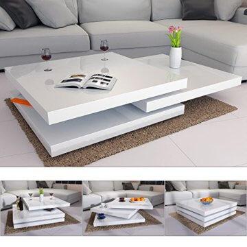 Deuba Couchtisch Wohnzimmertisch Hochglanz Beistelltisch Tisch Sofatisch Tischplatte 360° drehbar 60 x 60 cm - Weiß - 2
