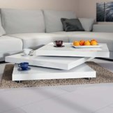 Deuba Couchtisch Wohnzimmertisch Hochglanz Beistelltisch Tisch Sofatisch Tischplatte 360° drehbar 60 x 60 cm - Weiß - 1