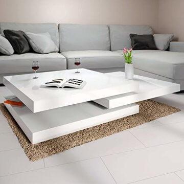 Deuba Couchtisch Wohnzimmertisch Hochglanz Beistelltisch Tisch Sofatisch Tischplatte 360° drehbar 60 x 60 cm - Weiß - 3