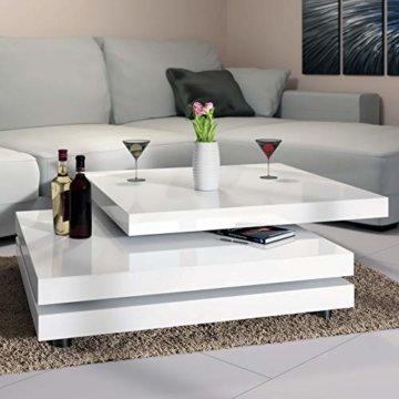 Deuba Couchtisch Wohnzimmertisch Hochglanz Beistelltisch Tisch Sofatisch Tischplatte 360° drehbar 60 x 60 cm - Weiß - 4