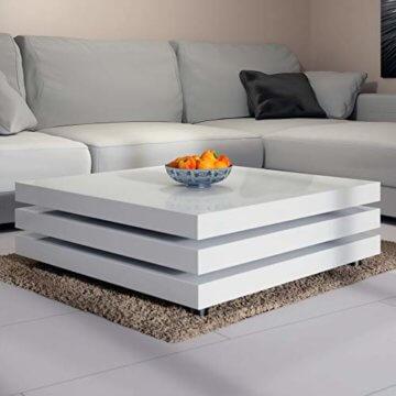 Deuba Couchtisch Wohnzimmertisch Hochglanz Beistelltisch Tisch Sofatisch Tischplatte 360° drehbar 60 x 60 cm - Weiß - 5