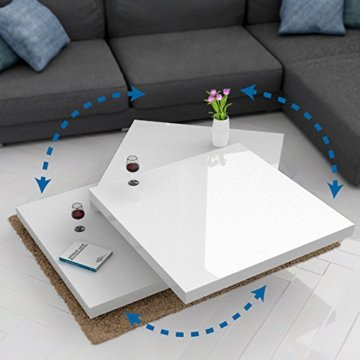 Deuba Couchtisch Wohnzimmertisch Hochglanz Beistelltisch Tisch Sofatisch Tischplatte 360° drehbar 60 x 60 cm - Weiß - 7