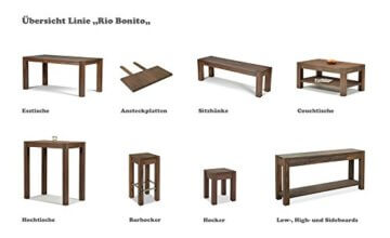 Esstisch Rio Bonito 140x80 cm, Pinie Massivholz, geölt und gewachst, Holz Tisch für Esszimmer, Wohnzimmer Küche, Farbton Cognac braun, Optional: passende Bänke und Ansteckplatten - 2